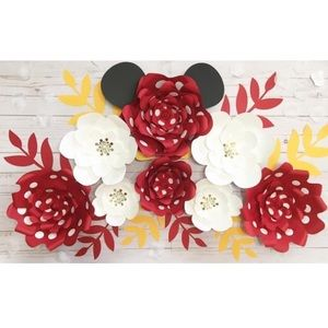 Minnie Mouse Paper Flower Set | 8pc Paper Flowers